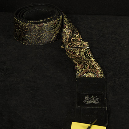 Gold Paisley 3 on Black Suede